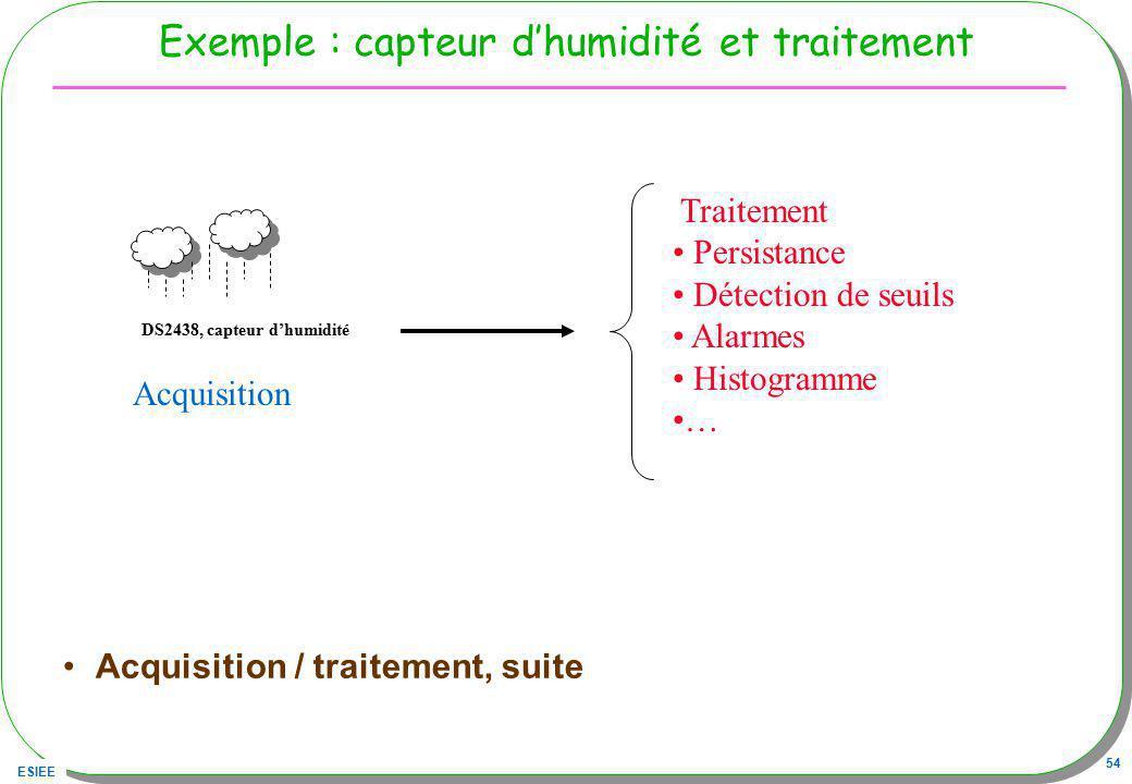 ESIEE 54 Exemple : capteur dhumidité et traitement Acquisition / traitement, suite DS2438, capteur dhumidité Acquisition Traitement Persistance Détect