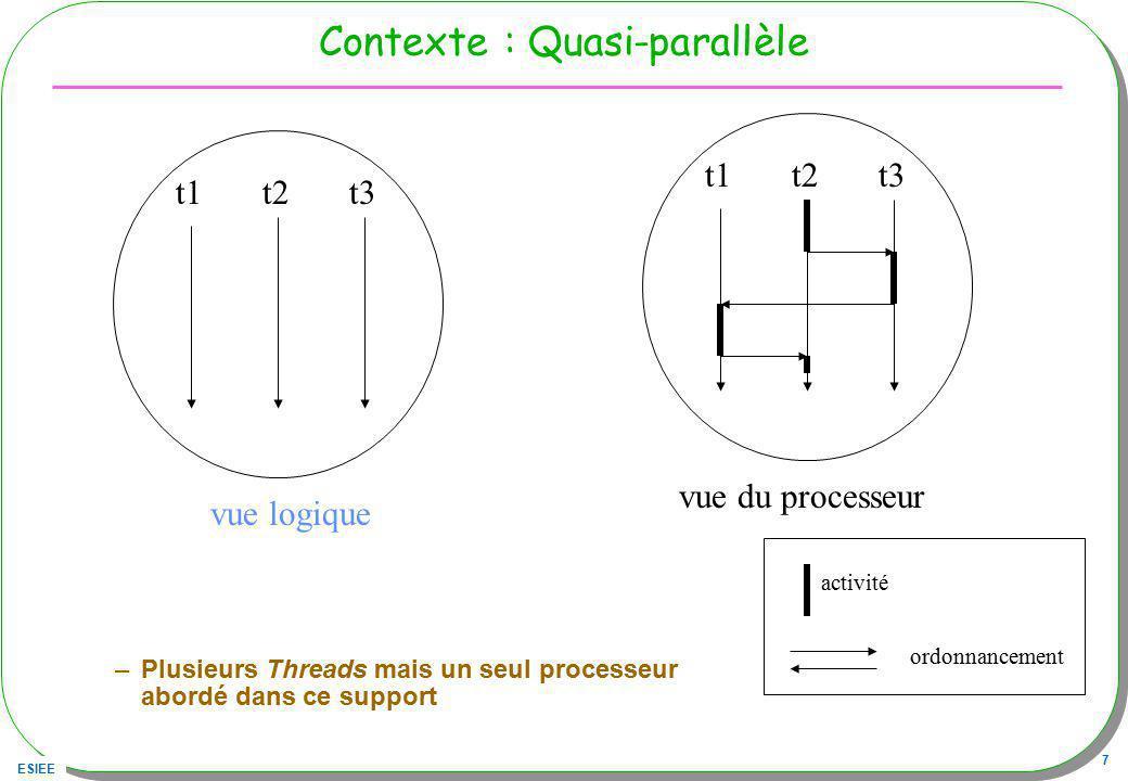 ESIEE 7 Contexte : Quasi-parallèle –Plusieurs Threads mais un seul processeur abordé dans ce support t1t2t3 t1t2t3 vue logique vue du processeur activ