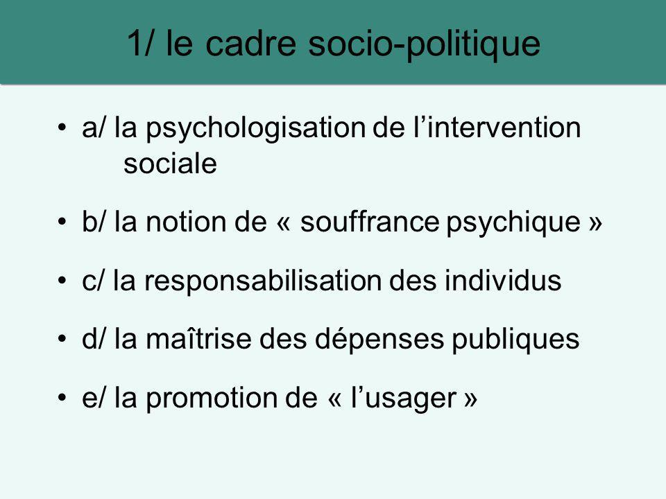 a/ la psychologisation de lintervention sociale b/ la notion de « souffrance psychique » c/ la responsabilisation des individus d/ la maîtrise des dép