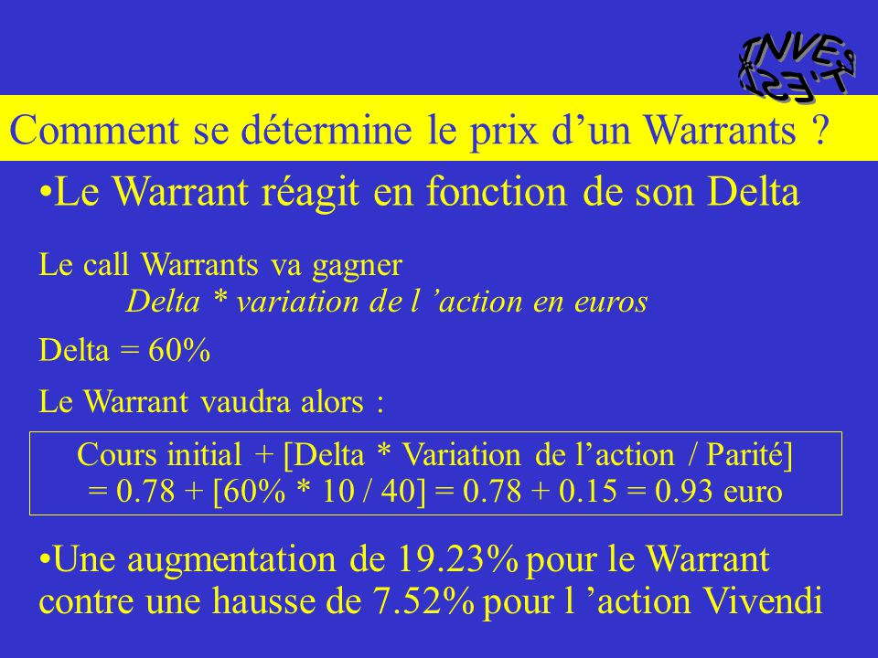Et si le sous-jacent gagne (ou perd) 10 euros ? Descriptif du Warrant : Cours de laction vivendi133 euros Cours du Warrants vivendi0.78 euros Prix d e
