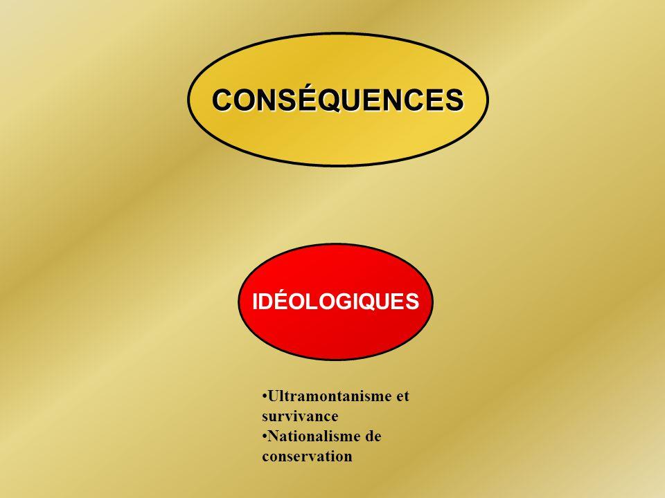 ULTRAMONTANISME ET SURVIVANCE Mgr Laflèche Caractéristiques : -Idéologie radicale dorigine française -Autorité qui franchit (ultra) les montagnes (mon