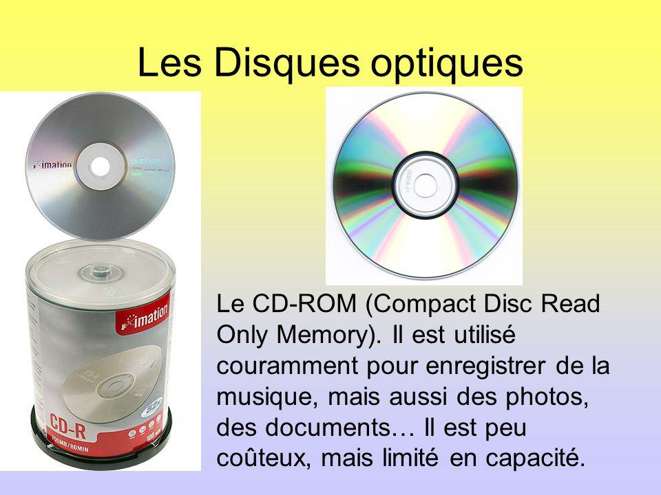 Les Disques optiques Le CD-ROM (Compact Disc Read Only Memory).