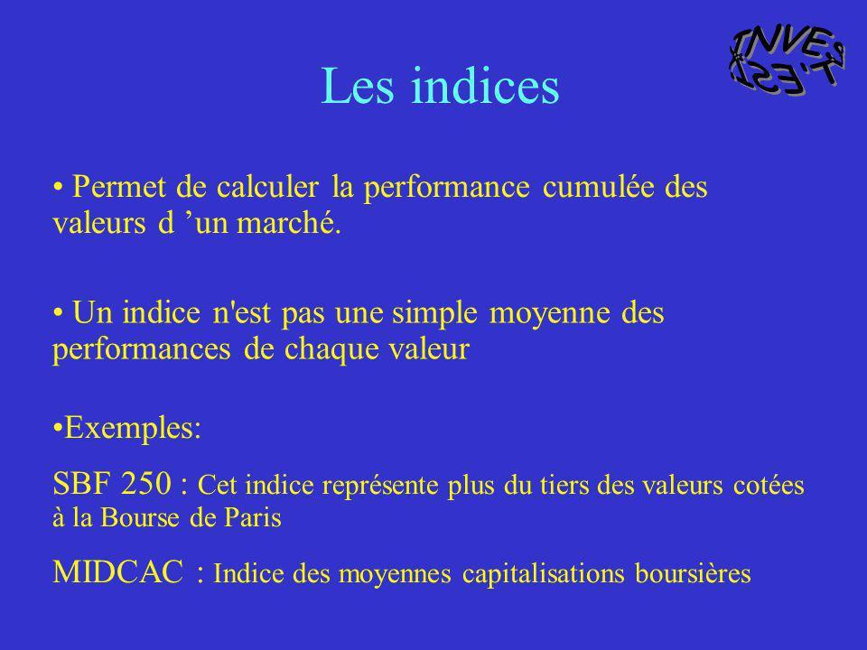 Permet de calculer la performance cumulée des valeurs d un marché. Un indice n'est pas une simple moyenne des performances de chaque valeur Exemples:
