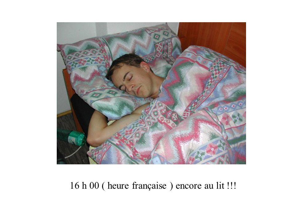 16 h 00 ( heure française ) encore au lit !!!