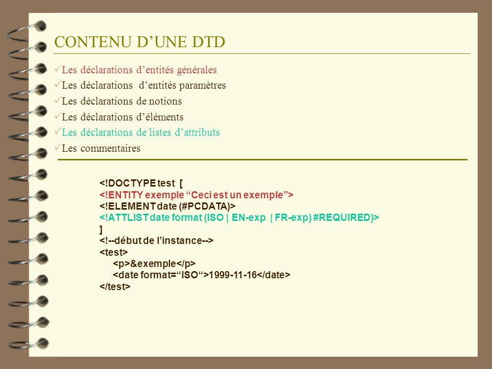 CONTENU DUNE DTD Les déclarations dentités générales Les déclarations dentités paramètres Les déclarations de notions Les déclarations déléments Les d