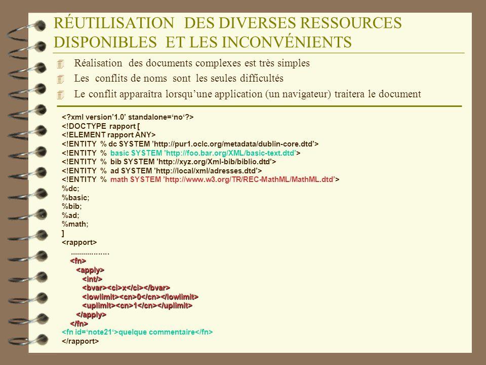 RESOUDRE CE PROBLÈME GRACE AUX DOMAINES NOMINAUX 4 Les conflits ne seraient pas apparus, si les auteurs nimportent pas de déclarations dans la DTD sans regarder ce quelles contiennent 4 Les domaines nominaux permettent lors de lédition dun document dutiliser des noms garantis uniques 4 La déclaration dun domaine nominal se fait à laide de lattribut spécial xmlns: <rapport xmlns:math=http://www.w3.org/TR/1998/REC-MathML-19980407.html xmlns:bt=http://foo.bar.org/xml/schemas/Basic-text.dtd>..............