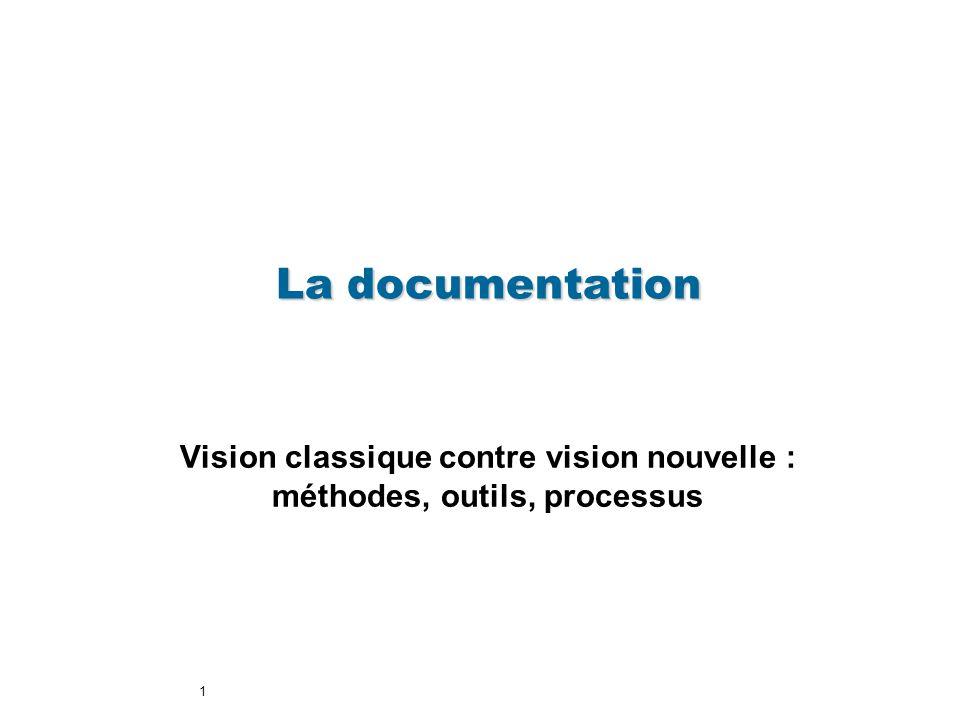 1 Vision classique contre vision nouvelle : méthodes, outils, processus La documentation