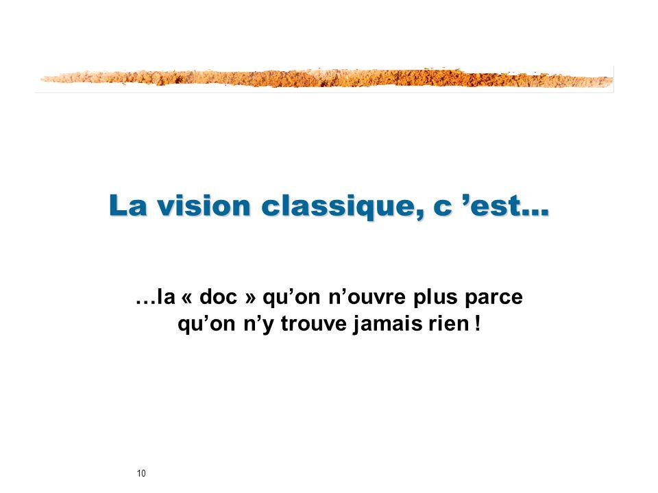 10 La vision classique, c est... …la « doc » quon nouvre plus parce quon ny trouve jamais rien !