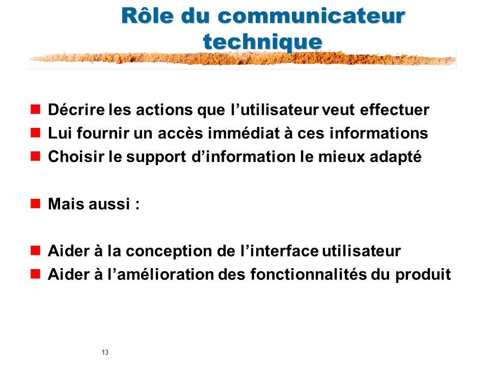 13 Rôle du communicateur technique nDécrire les actions que lutilisateur veut effectuer nLui fournir un accès immédiat à ces informations nChoisir le