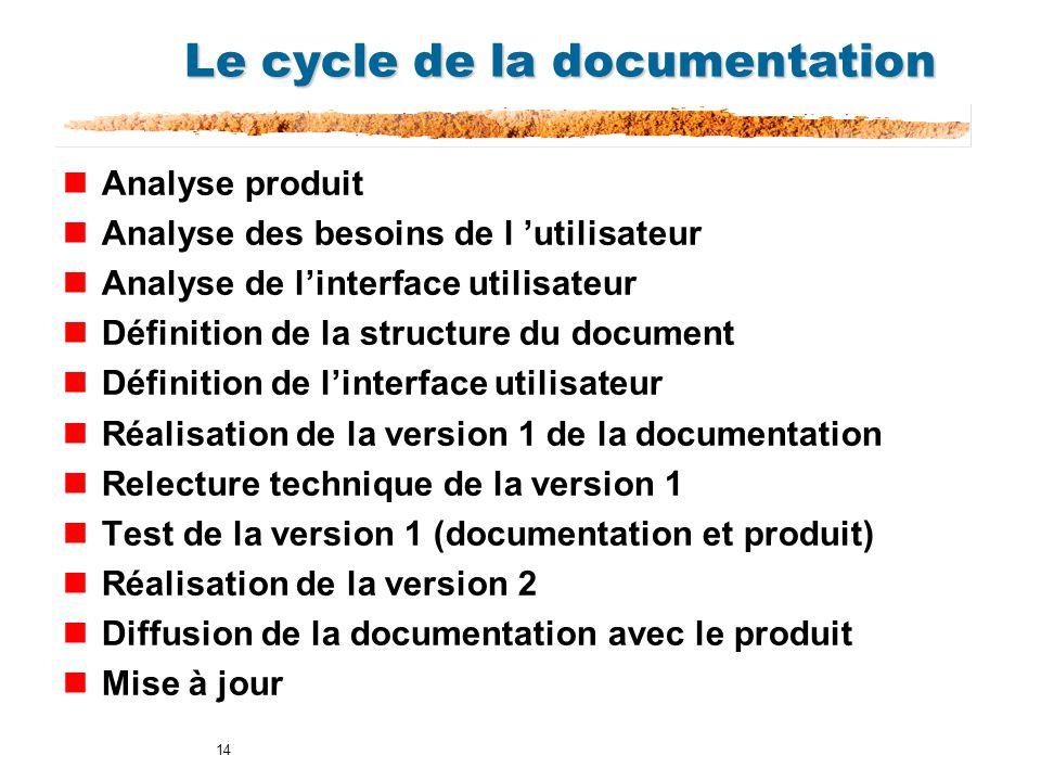 14 Le cycle de la documentation nAnalyse produit nAnalyse des besoins de l utilisateur nAnalyse de linterface utilisateur nDéfinition de la structure