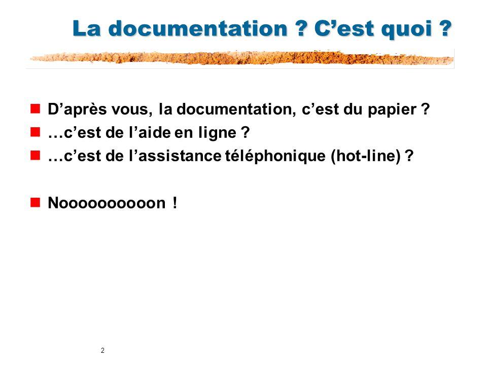 2 La documentation ? Cest quoi ? nDaprès vous, la documentation, cest du papier ? n…cest de laide en ligne ? n…cest de lassistance téléphonique (hot-l