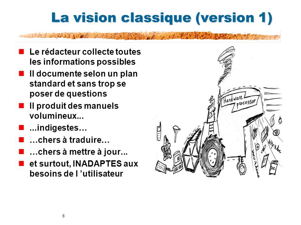 8 La vision classique (version 1) nLe rédacteur collecte toutes les informations possibles nIl documente selon un plan standard et sans trop se poser