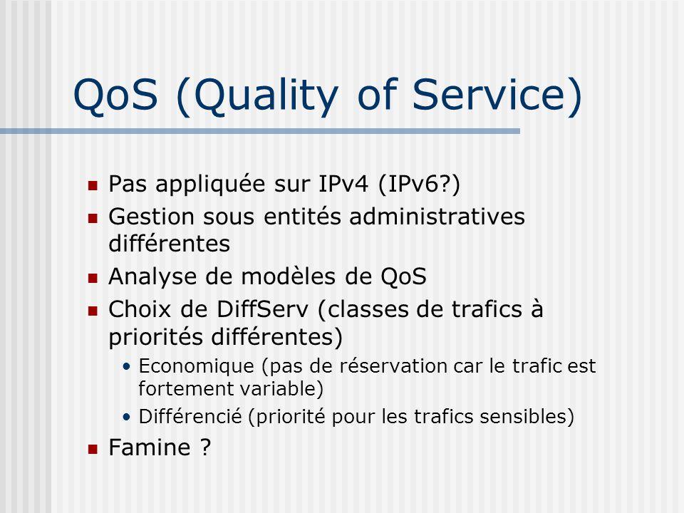 QoS (Quality of Service) Pas appliquée sur IPv4 (IPv6?) Gestion sous entités administratives différentes Analyse de modèles de QoS Choix de DiffServ (