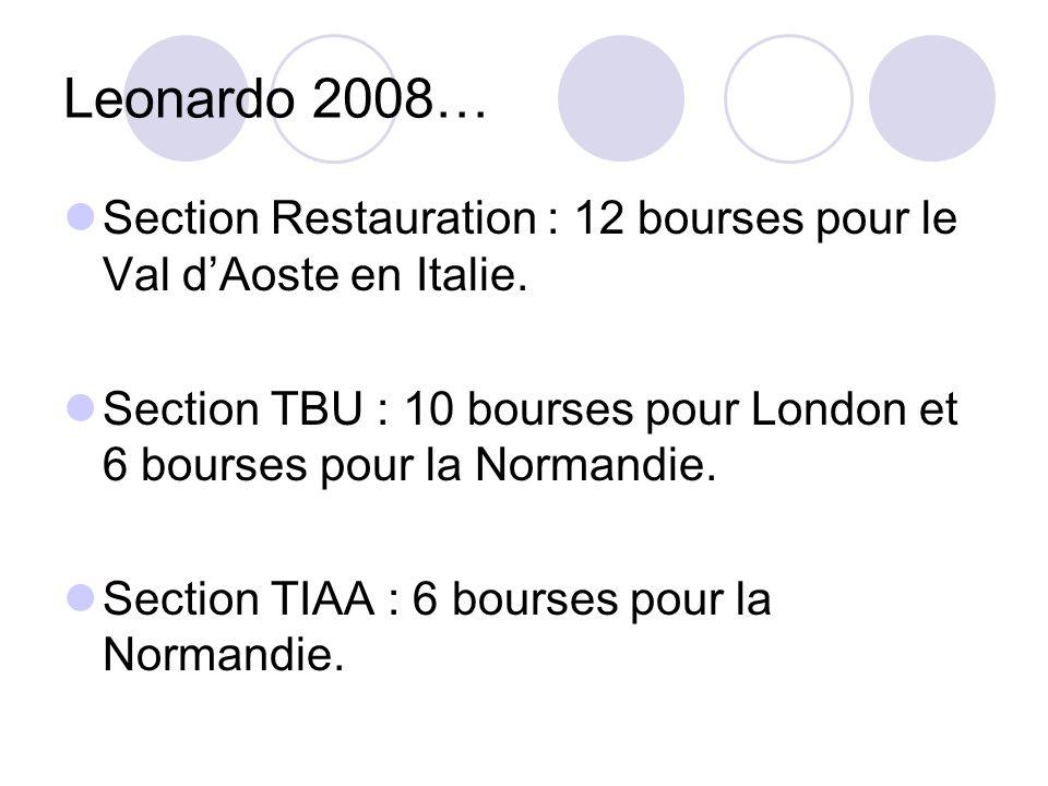 Leonardo 2008… Section Restauration : 12 bourses pour le Val dAoste en Italie.