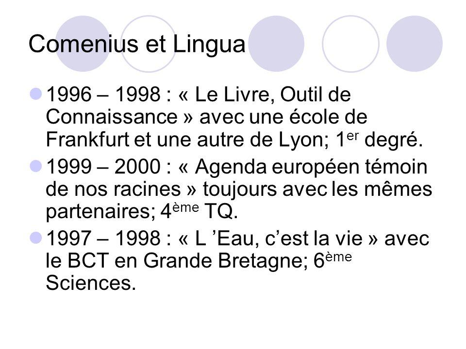 Comenius et Lingua 1996 – 1998 : « Le Livre, Outil de Connaissance » avec une école de Frankfurt et une autre de Lyon; 1 er degré.