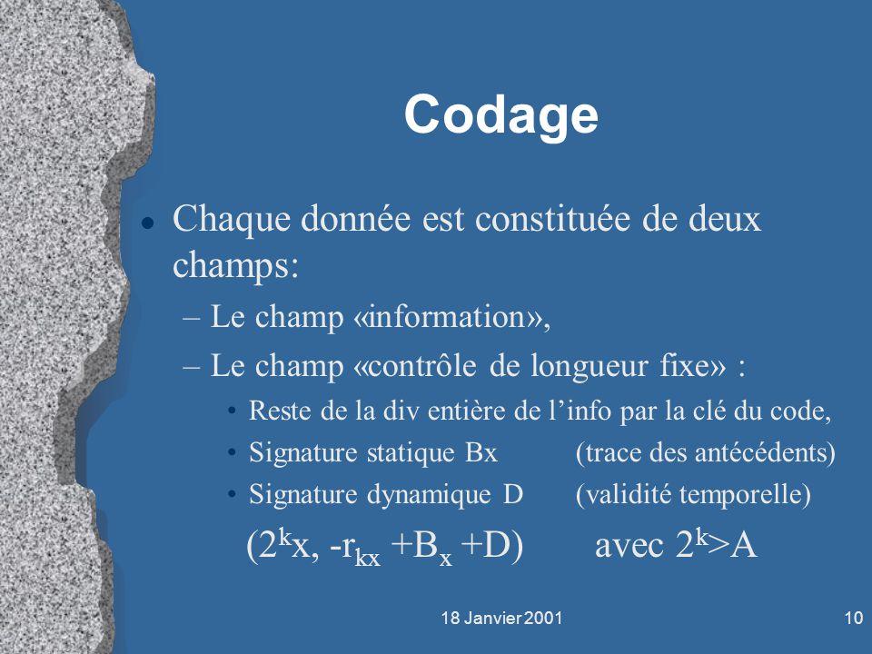 18 Janvier 200110 Codage l Chaque donnée est constituée de deux champs: –Le champ «information», –Le champ «contrôle de longueur fixe» : Reste de la d