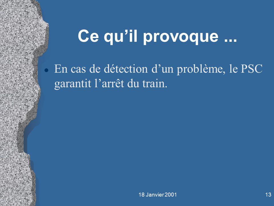 18 Janvier 200113 Ce quil provoque... l En cas de détection dun problème, le PSC garantit larrêt du train.