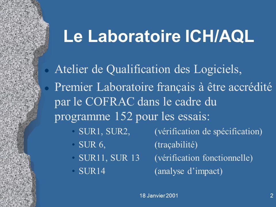 18 Janvier 20012 Le Laboratoire ICH/AQL l Atelier de Qualification des Logiciels, l Premier Laboratoire français à être accrédité par le COFRAC dans l