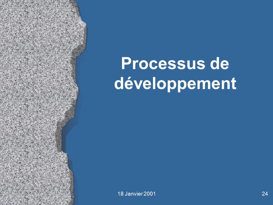 18 Janvier 200124 Processus de développement