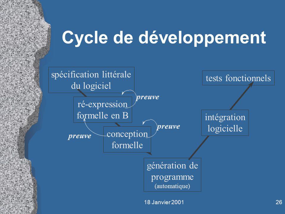 18 Janvier 200126 Cycle de développement spécification littérale du logiciel tests fonctionnels ré-expression formelle en B conception formelle généra