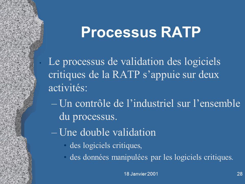 18 Janvier 200128 Processus RATP Le processus de validation des logiciels critiques de la RATP sappuie sur deux activités: –Un contrôle de lindustriel