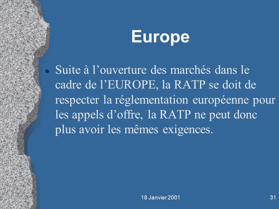 18 Janvier 200131 Europe l Suite à louverture des marchés dans le cadre de lEUROPE, la RATP se doit de respecter la réglementation européenne pour les