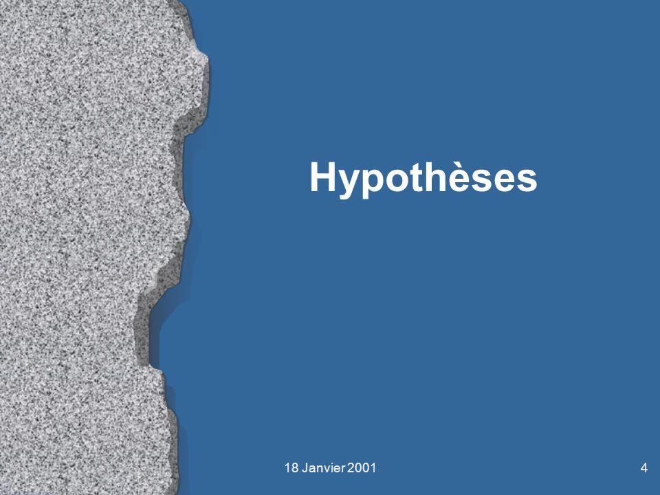 18 Janvier 20014 Hypothèses