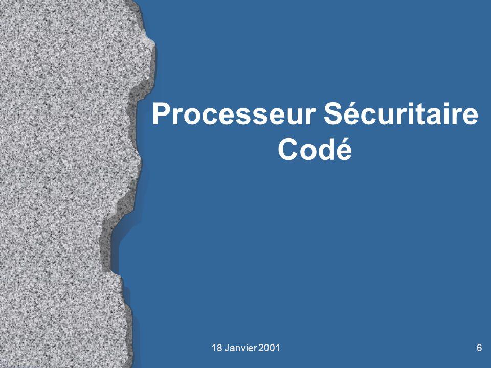 18 Janvier 20016 Processeur Sécuritaire Codé