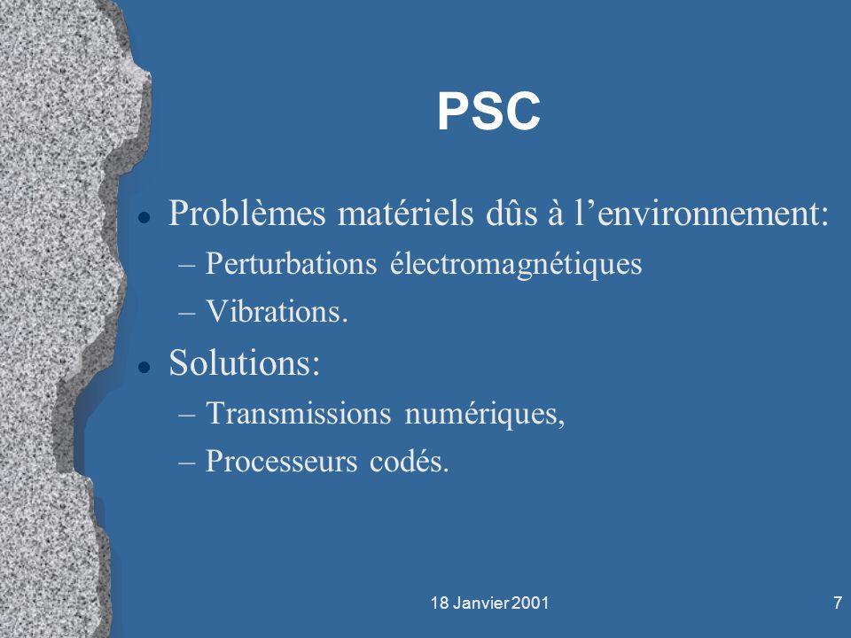 18 Janvier 20017 PSC l Problèmes matériels dûs à lenvironnement: –Perturbations électromagnétiques –Vibrations. l Solutions: –Transmissions numériques