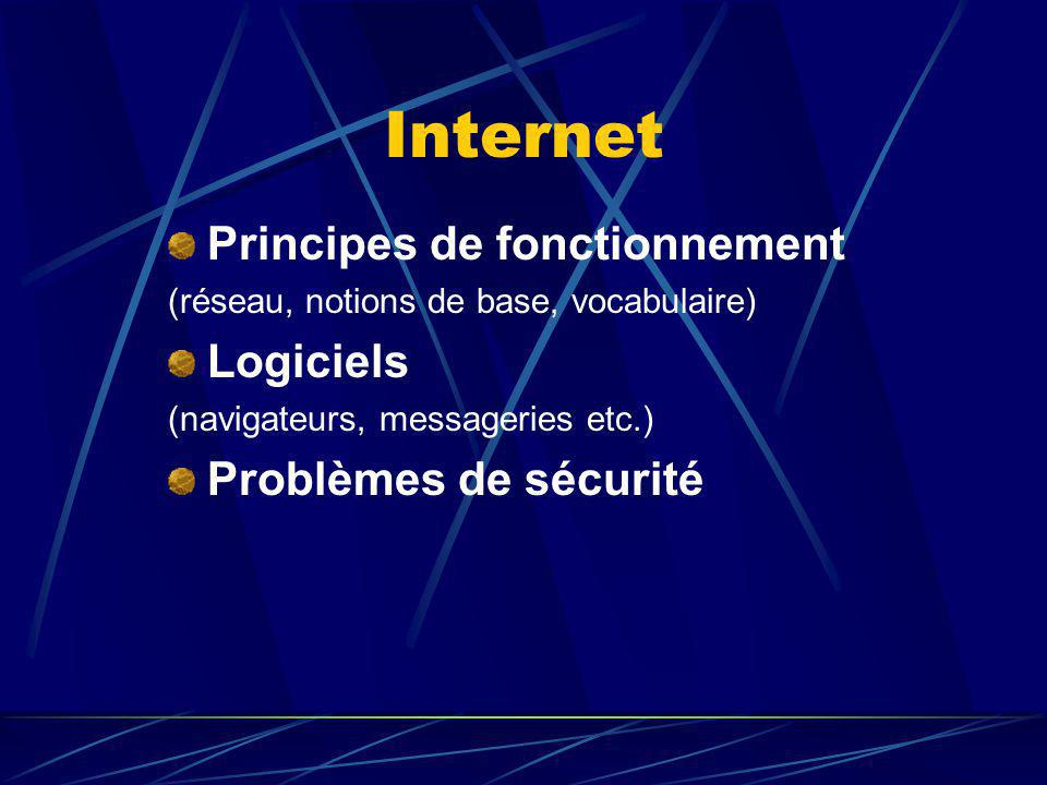 Internet Principes de fonctionnement (réseau, notions de base, vocabulaire) Logiciels (navigateurs, messageries etc.) Problèmes de sécurité