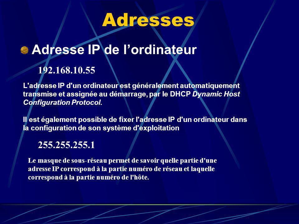 Adresses Adresse IP de lordinateur 192.168.10.55 L'adresse IP d'un ordinateur est généralement automatiquement transmise et assignée au démarrage, par