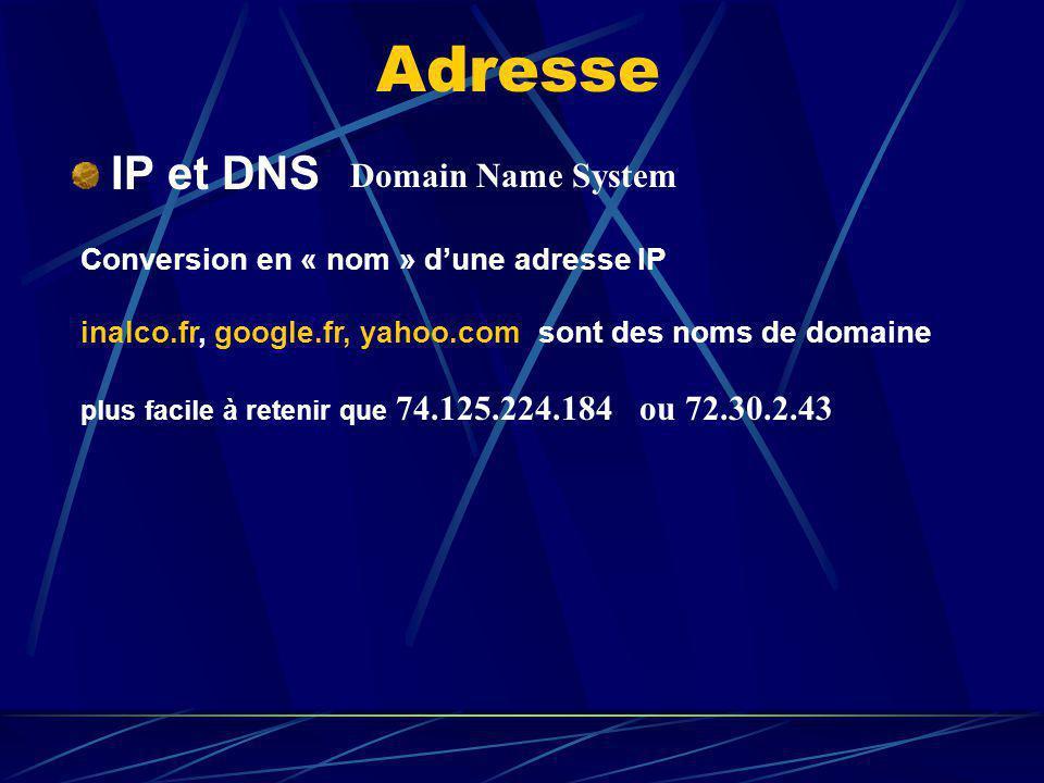 Adresse IP et DNS Domain Name System Conversion en « nom » dune adresse IP inalco.fr, google.fr, yahoo.com sont des noms de domaine plus facile à rete