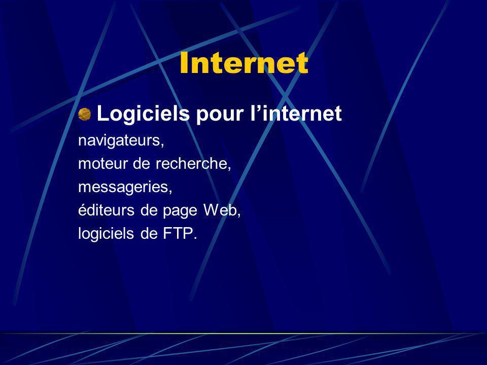 Internet Logiciels pour linternet navigateurs, moteur de recherche, messageries, éditeurs de page Web, logiciels de FTP.