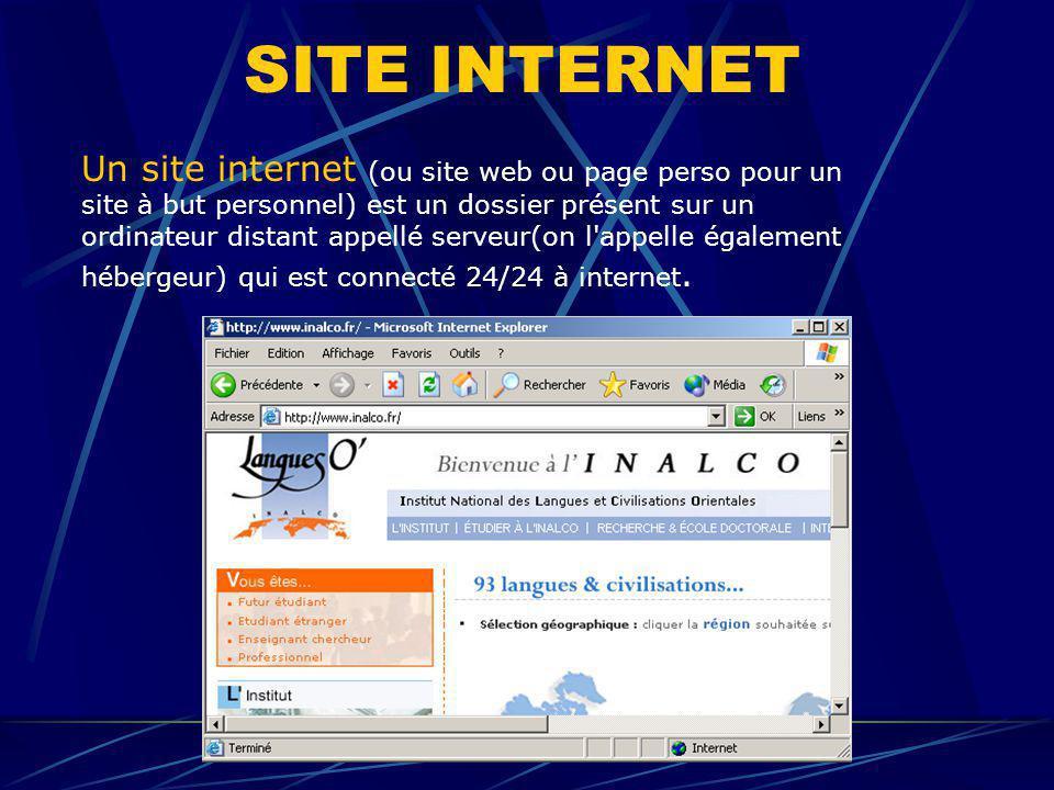 SITE INTERNET Un site internet (ou site web ou page perso pour un site à but personnel) est un dossier présent sur un ordinateur distant appellé serve
