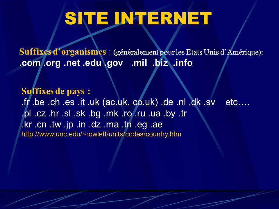 SITE INTERNET Suffixes dorganismes : (généralement pour les Etats Unis dAmérique):.com.org.net.edu.gov.mil.biz.info Suffixes de pays :. fr.be.ch.es.it