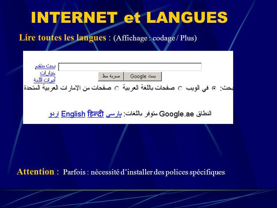 Lire toutes les langues : (Affichage : codage / Plus) Attention : Parfois : nécessité dinstaller des polices spécifiques