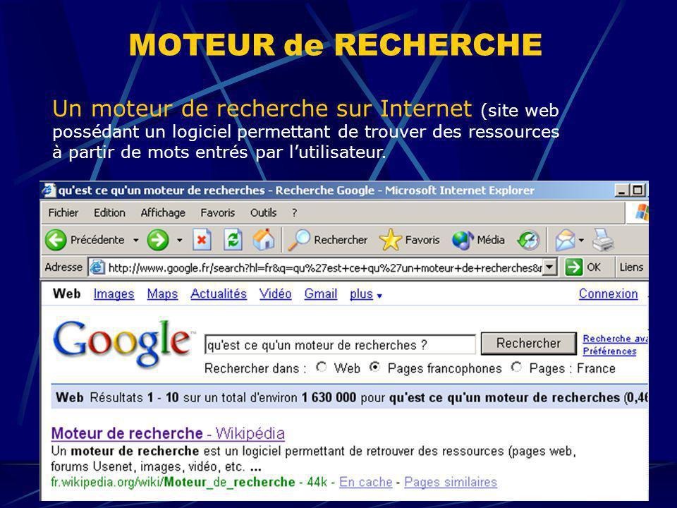 MOTEUR de RECHERCHE Un moteur de recherche sur Internet (site web possédant un logiciel permettant de trouver des ressources à partir de mots entrés p