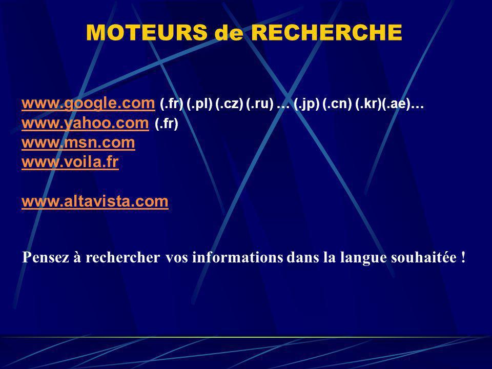 MOTEURS de RECHERCHE www.google.comwww.google.com (.fr) (.pl) (.cz) (.ru) … (.jp) (.cn) (.kr)(.ae)… www.yahoo.comwww.yahoo.com (.fr) www.msn.com www.v