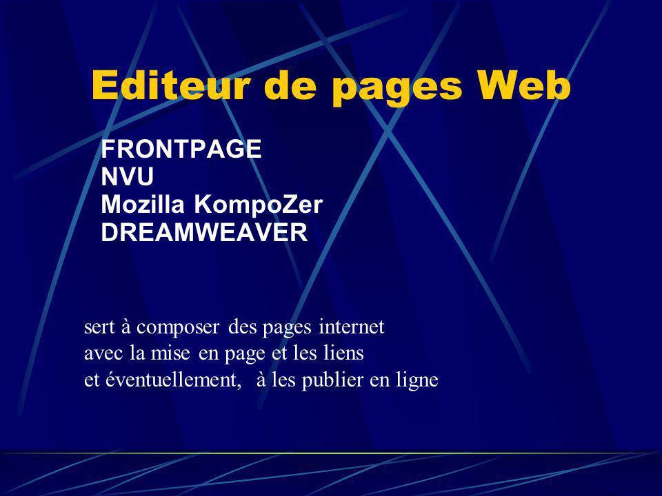 Editeur de pages Web FRONTPAGE NVU Mozilla KompoZer DREAMWEAVER sert à composer des pages internet avec la mise en page et les liens et éventuellement