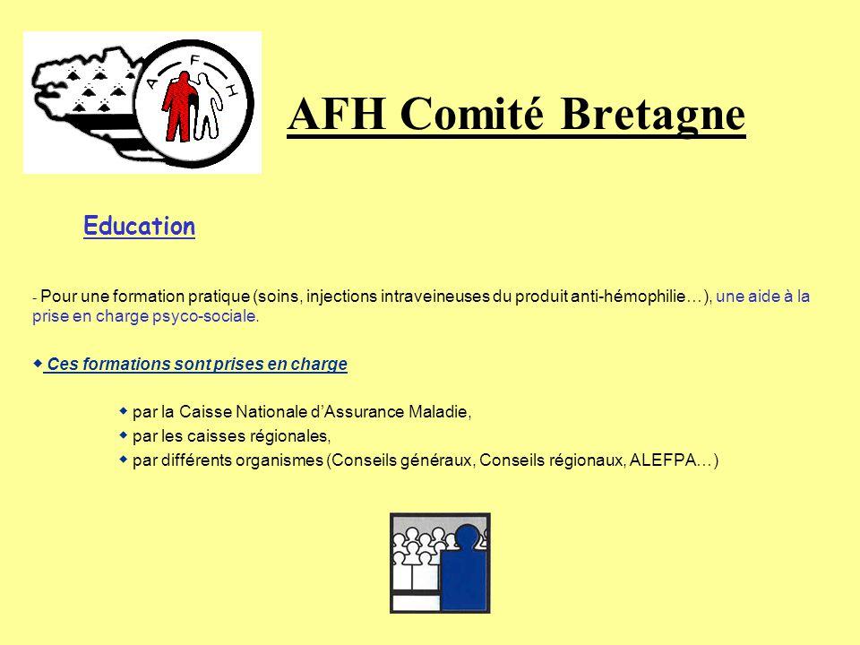 AFH Comité Bretagne Education « LHémophile bien éduqué domine mieux ses problèmes » Afin de compenser les inconvénients de la maladie et daider les hé