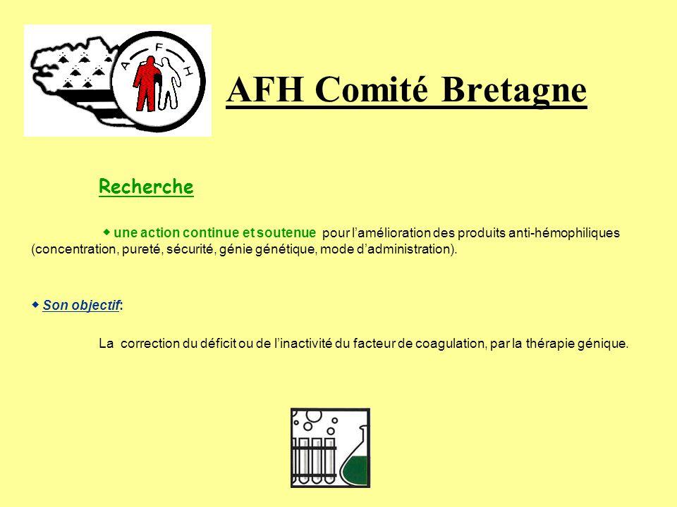 AFH Comité Bretagne Recherche « Pour que lhémophilie ne soit plus une fatalité… » Lassociation Française des Hémophiles contribue par divers moyens à