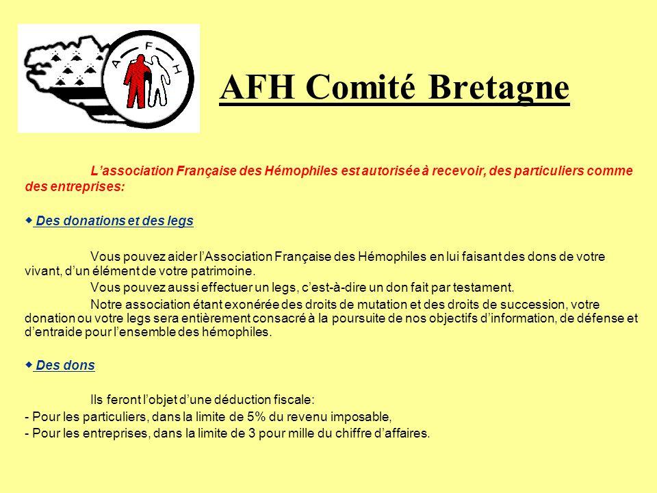 AFH Comité Bretagne Recherche une action continue et soutenue pour lamélioration des produits anti-hémophiliques (concentration, pureté, sécurité, gén