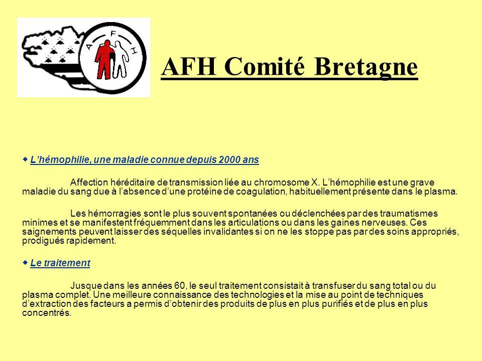 AFH Comité Bretagne Recherche « Pour que lhémophilie ne soit plus une fatalité… » Lassociation Française des Hémophiles contribue par divers moyens à ce que la recherche avance: un prix international: Le prix Henri Chaigneaux.