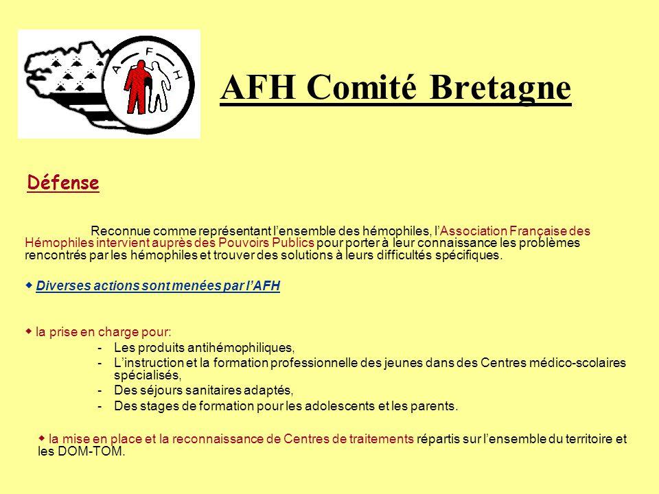 AFH Comité Bretagne Défense Reconnue comme représentant lensemble des hémophiles, lAssociation Française des Hémophiles intervient auprès des Pouvoirs Publics pour porter à leur connaissance les problèmes rencontrés par les hémophiles et trouver des solutions à leurs difficultés spécifiques.