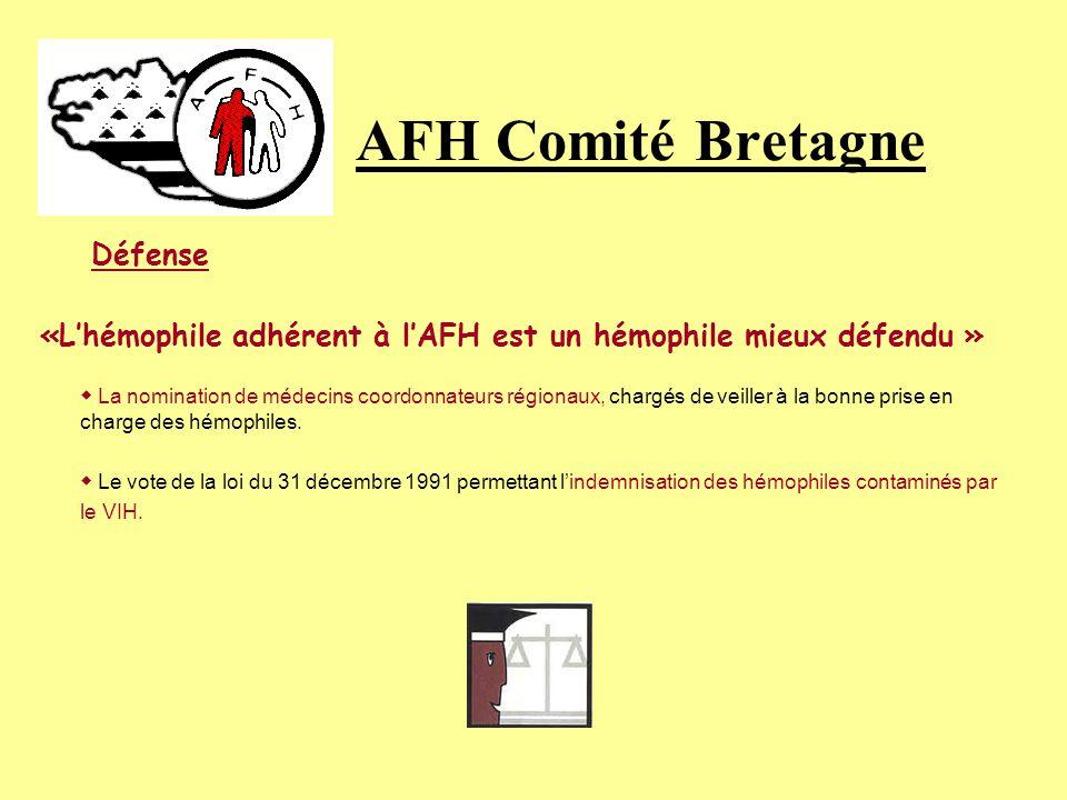 AFH Comité Bretagne Défense «Lhémophile adhérent à lAFH est un hémophile mieux défendu » La nomination de médecins coordonnateurs régionaux, chargés de veiller à la bonne prise en charge des hémophiles.
