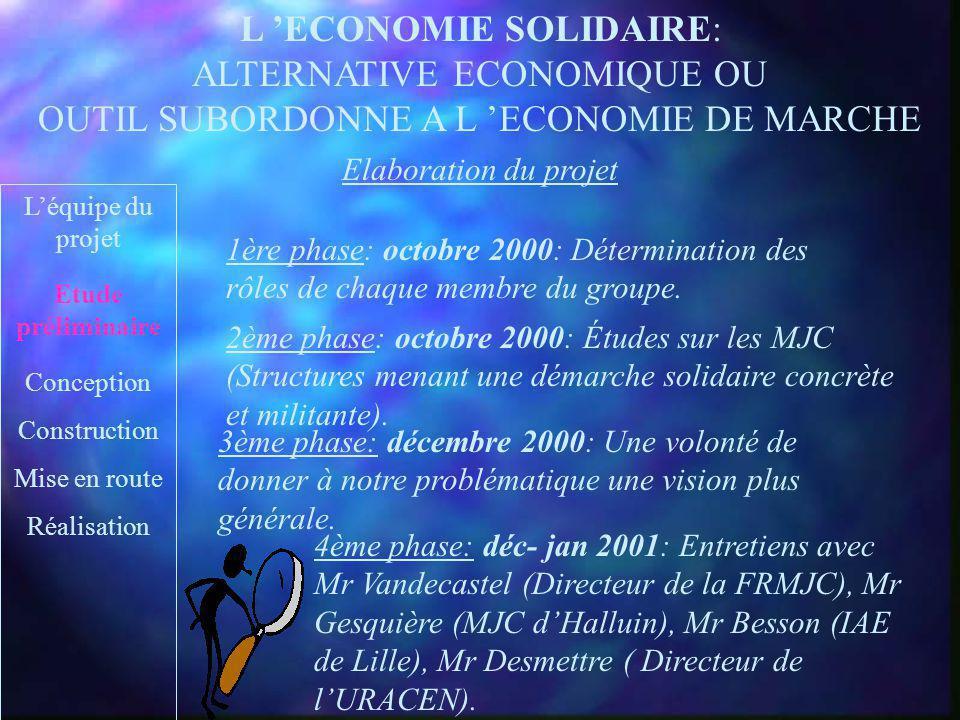L ECONOMIE SOLIDAIRE: ALTERNATIVE ECONOMIQUE OU OUTIL SUBORDONNE A L ECONOMIE DE MARCHE Pascal Albane Nicolas Léquipe du projet Etude préliminaire Con