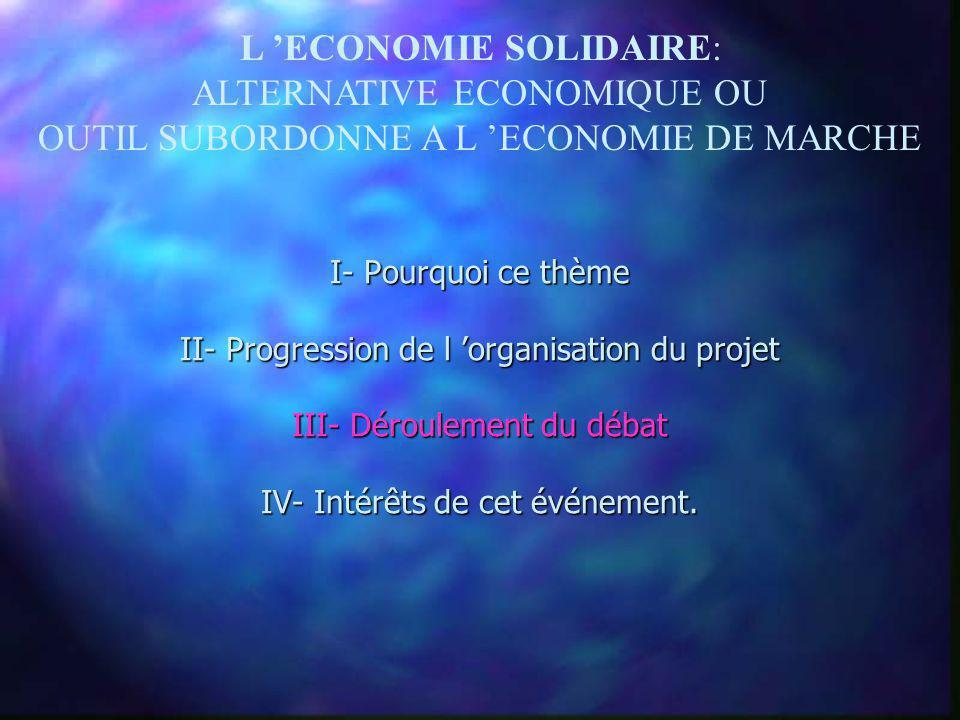 L ECONOMIE SOLIDAIRE: ALTERNATIVE ECONOMIQUE OU OUTIL SUBORDONNE A L ECONOMIE DE MARCHE Léquipe du projet Etude préliminaire Conception Construction M