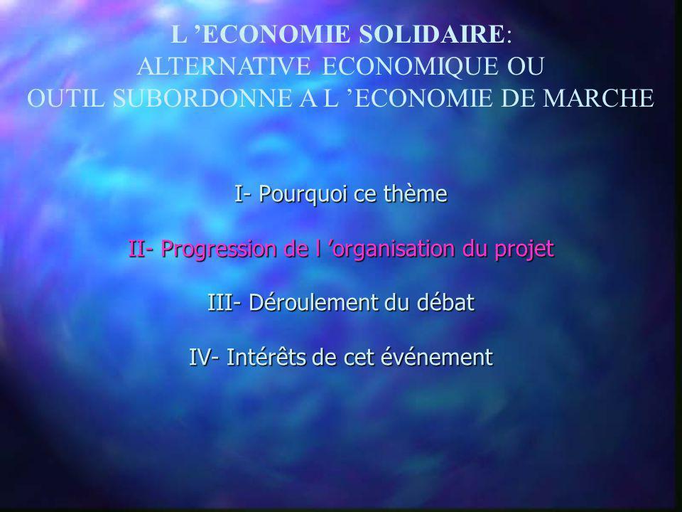 I- Pourquoi ce thème II- Progression de l organisation du projet III- Déroulement du débat IV- Intérêts de cet événement L ECONOMIE SOLIDAIRE: ALTERNA