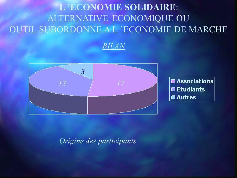 L ECONOMIE SOLIDAIRE: ALTERNATIVE ECONOMIQUE OU OUTIL SUBORDONNE A L ECONOMIE DE MARCHE « Suppléer lÉtat ou se faire flouer par le secteur non- marcha