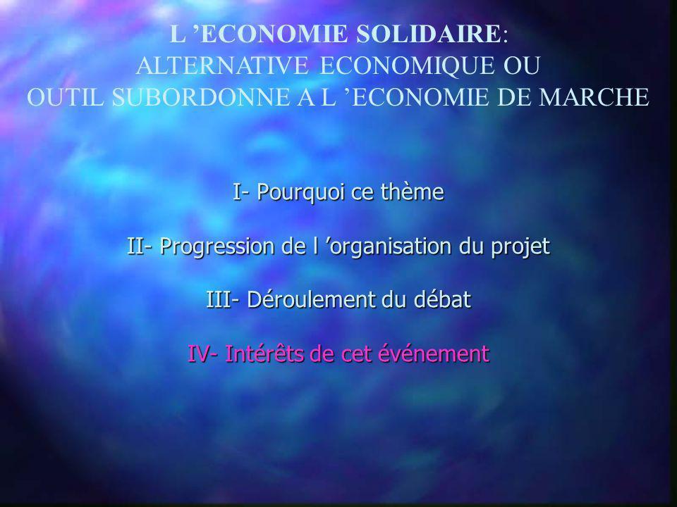 L ECONOMIE SOLIDAIRE: ALTERNATIVE ECONOMIQUE OU OUTIL SUBORDONNE A L ECONOMIE DE MARCHE I- Pourquoi ce thème II- Progression de l organisation du proj